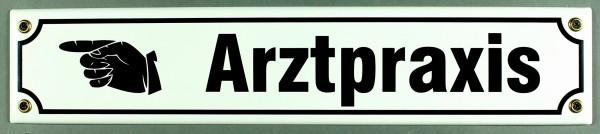 Strassenschild Arztpraxis Hand links 40x8 cm Email Strassen Schild Emaille