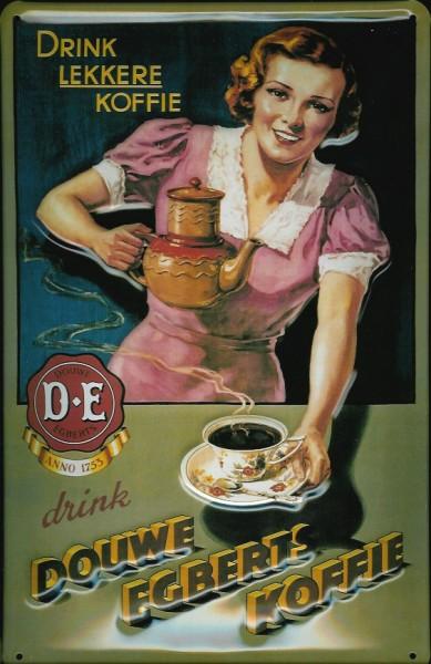 Blechschild Douwe Egberts Koffie Kaffee rosa retro Reklame Schild