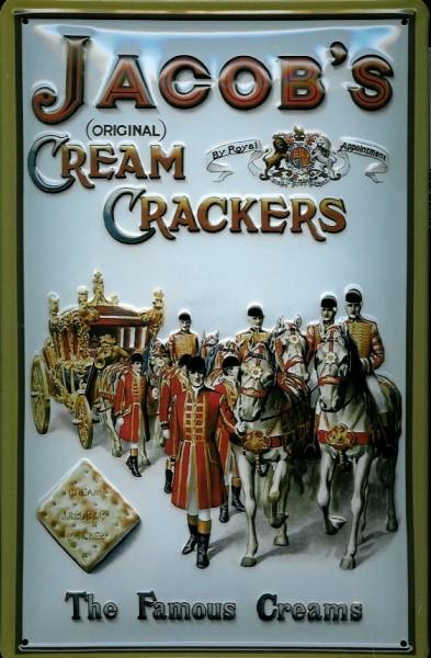 Blechschild Jacobs Cream Crackers Kutsche Pferde Reiter Schild Nostalgieschild