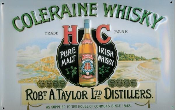 Blechschild Coleraine Irish Malt Whisky Schild retro Nostalgie Werbeschild