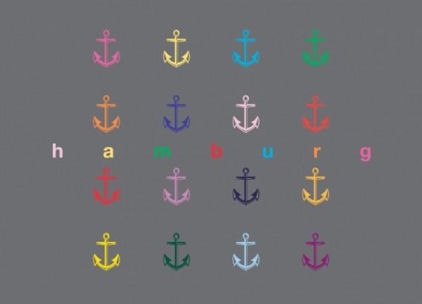 Postkarte Hamburg bunte Anker