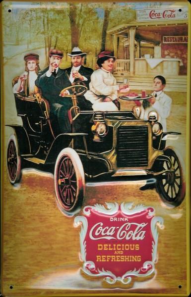 Blechschild Coca Cola Oldtimer Auto Familie nostalgisches Werbeschild Reklame Schild