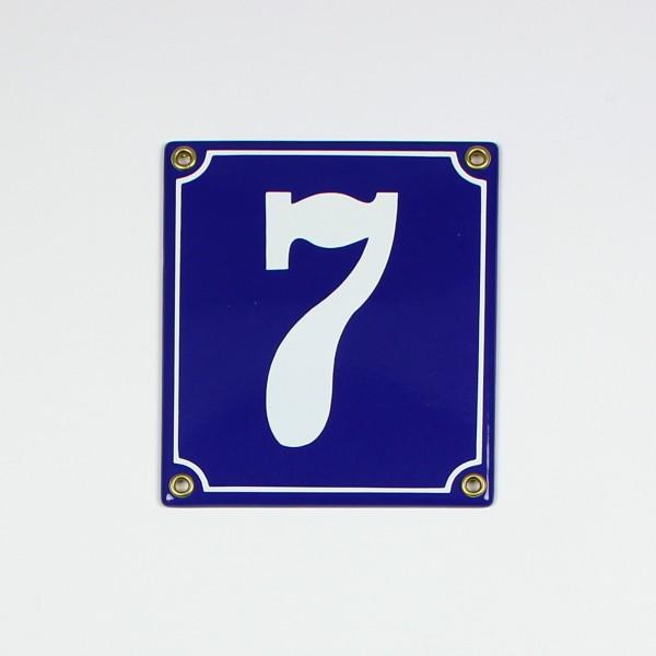 7 blau hoch Clarendon 12x14 cm sofort lieferbar 2-stellig Schild Emaille Hausnummer