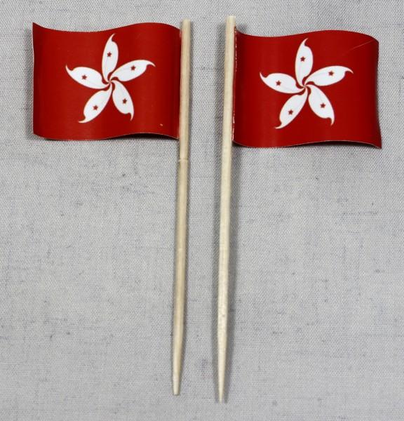 Party-Picker Flagge Hongkong Papierfähnchen in Spitzenqualität 50 Stück Beutel