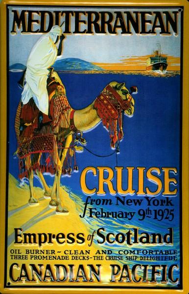 Blechschild Canadian Pacific Kreuzfahrt Dampfer Mediterranean Cruise Schiff Schild Nostalgieschild