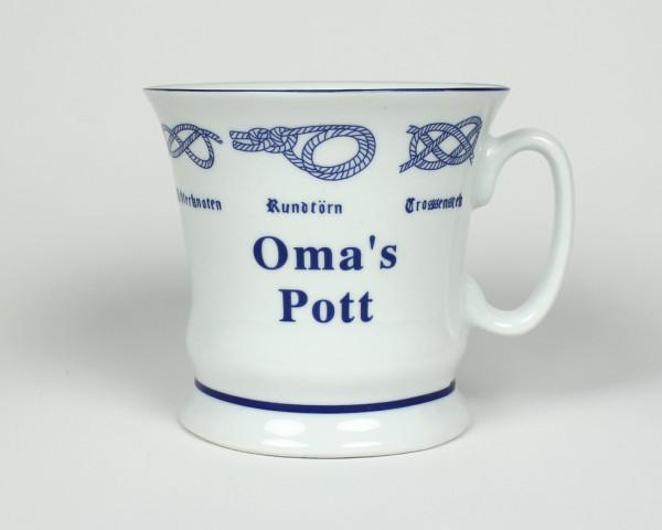 Oma´s Pott mit Seemannsknoten hoch Kaffeebecher Kaffeetasse Kaffee Pott