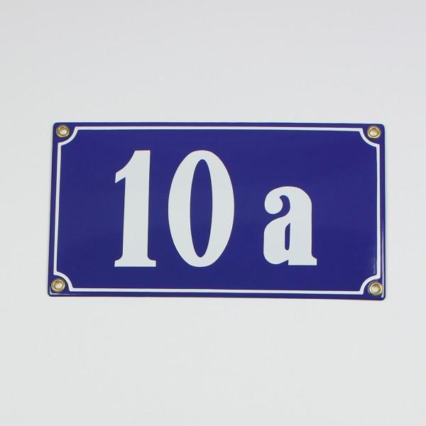 10a blau Clarendon 22x12 cm sofort lieferbar Schild Emaille 4-stellige Hausnummer