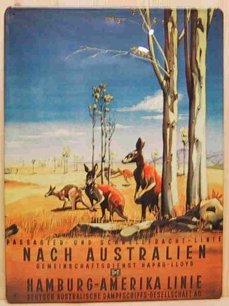 Blechschild Australien Hamburg - Amerika Linie Gemeinschaftsdienst Hapag Lloyd Dampfer Schiff Schild