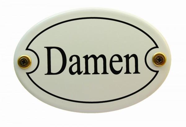 Emaille Türschild Damen weiß oval Emaille Toilettenschild Schild WC Kloschild