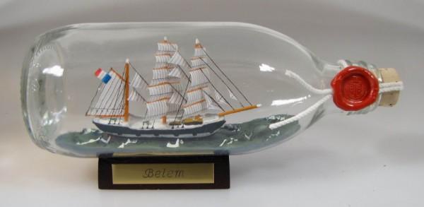 Belem Frankreich runde Flasche 0,3 Liter Buddelschiff Flaschenschiff