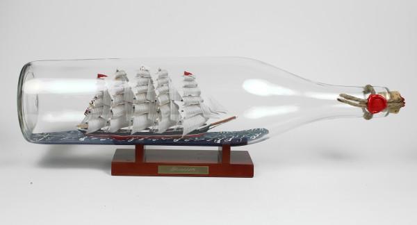 Preussen 3 Liter runde Asbach - Flasche Buddelschiff Flaschenschiff