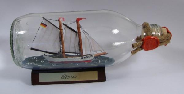 Gloria Schoner runde Flasche 0,3 Liter Buddelschiff Flaschenschiff