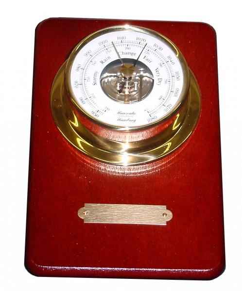 Schiffs Barometer 90 mm Messing leicht auf Holztafel