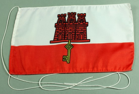 Tischflagge Gibraltar 25x15 cm optional mit Holz- oder Chromständer Tischfahne Tischfähnchen