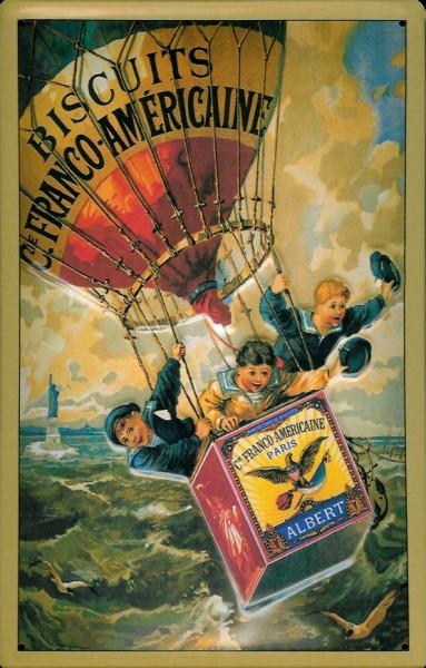 Blechschild Albert Biscuits Fesselballon Kekse Schild Nostalgieschild