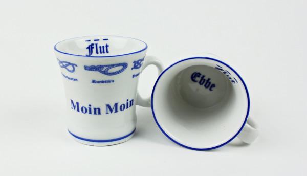 2er Set Moin Moin Pöttchen mit Seemannsknoten hoch Pott Mini Becher Schnaps Schnapsglas