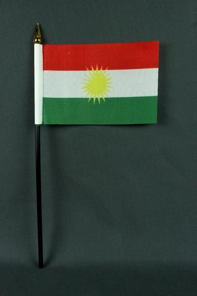 Kleine Tischflagge Kurdistan 10x15 cm optional mit Tischfähnchenständer