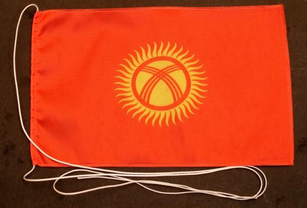 Tischflagge Kirgistan 25x15 cm optional mit Holz- oder Chromständer Tischfahne Tischfähnchen