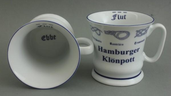 Hamburger Klönpott mit Seemannsknoten hoch Kaffeebecher Kaffeetasse Kaffee Pott