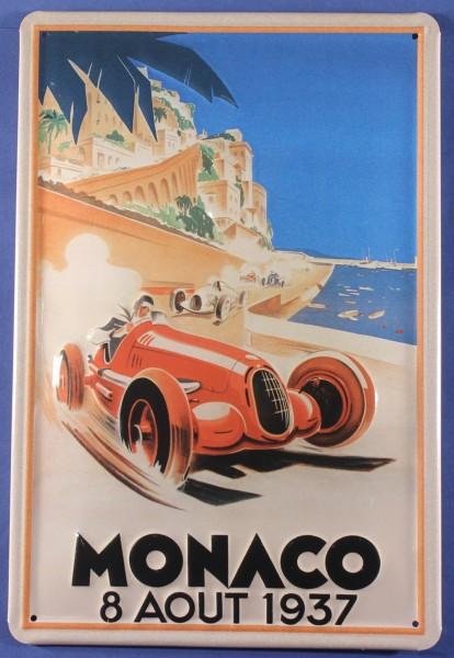 Blechschild Monaco Autorennen 1937 Rennwagen Auto Motorrad Schild Werbeschild retro Nostalgieschild