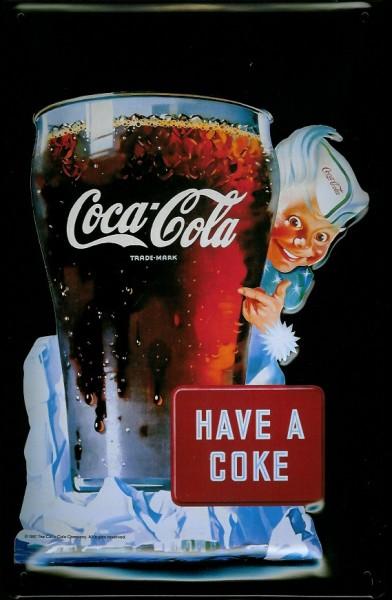 Blechschild Coca Cola Have a Coke Glas Eiswürfel nostalgisches Schild retro Reklameschild