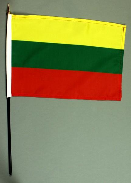 Tischflagge Litauen 20x30 cm optional mit Tischflaggenständer aus Mahagoni Holz