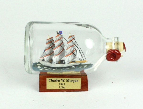 Charles W. Morgan USA Mini Buddelschiff 50 ml ca. 7,2 x 4,5 cm Flaschenschiff