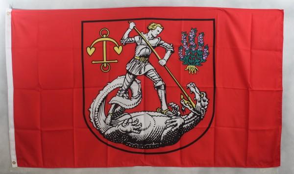 Flagge Fahne Heide / Holstein Stadtflagge Ritter Drachen
