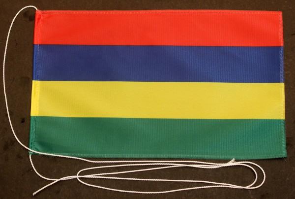 Tischflagge Mauritius 25x15 cm optional mit Holz- oder Chromständer Tischfahne Tischfähnchen