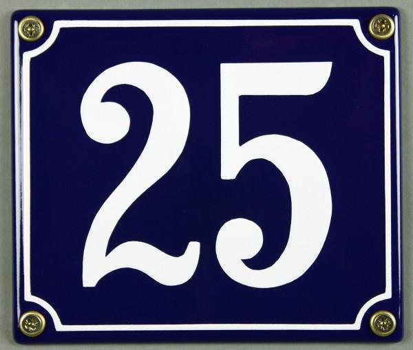 Hausnummernschild Emaille 25 blau - weiß 12x14 cm sofort lieferbar Schild Emaile Hausnummer Haus Num