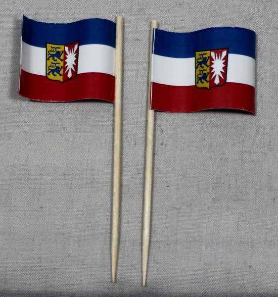 Party-Picker Flagge Schleswig Holstein Papierfähnchen in Spitzenqualität 50 Stück Beutel