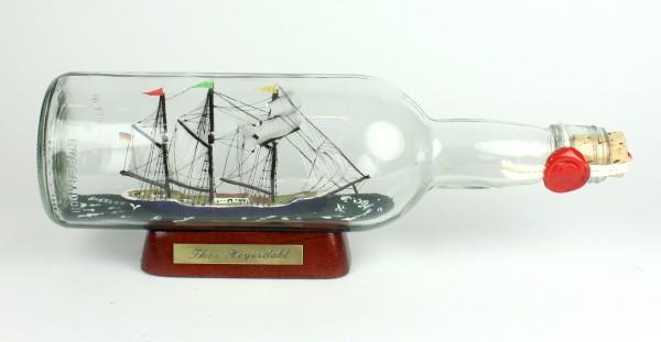 Thor Heyerdahl 700 ml runde Flasche Buddelschiff Museumsqualität
