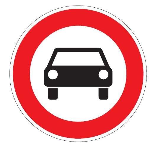 Verkehrsschild / Verkehrszeichen Verbot für Kraftwagen 600 mm rund Aluminium reflektierend Typ 1 VZ