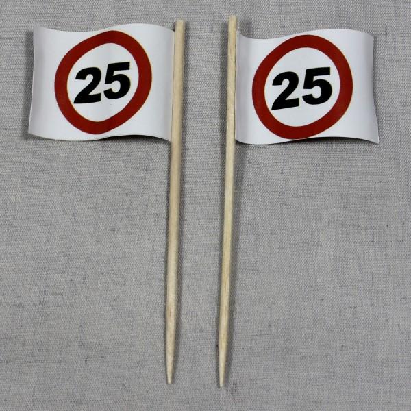 Party-Picker Flagge Tempo 25 Verkehrszeichen Papierfähnchen in Spitzenqualität 50 Stück Beutel