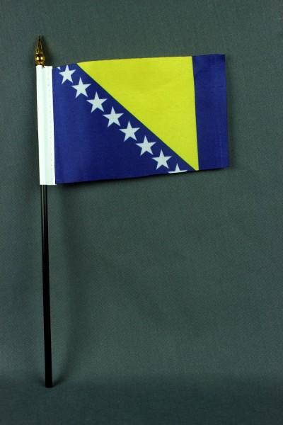 Kleine Tischflagge Bosnien Herzegowina 10x15 cm optional mit Tischfähnchenständer