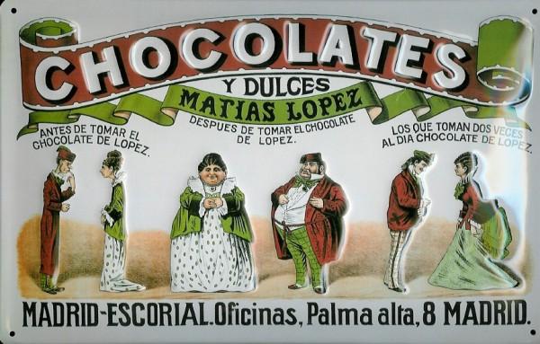 Blechschild Chocolates y Dulces Matias Lopez Madrid Schokolade Schild
