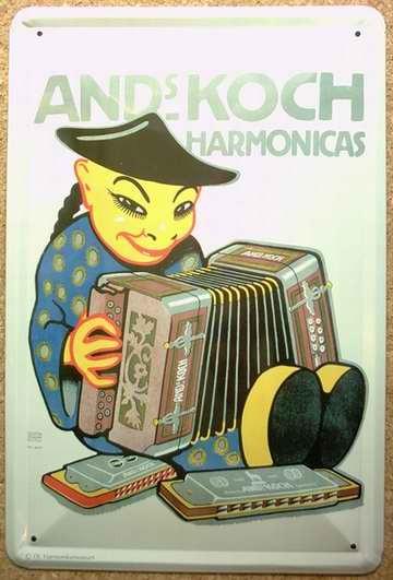 Blechschild Nostalgieschild : Harmonicas - Chinese Akkordeon Mundharmonika