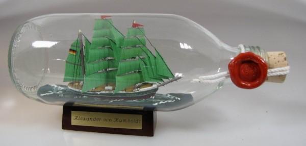 Alexander von Humboldt runde Flasche 0,3 Liter Buddelschiff Flaschenschiff