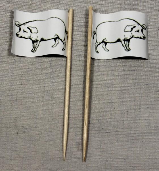 Party-Picker Flagge Schwein Schweinefleisch Papierfähnchen in Spitzenqualität 50 Stück Beutel