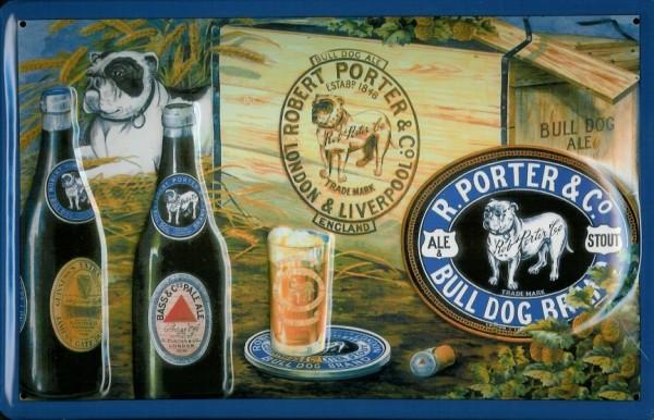 Blechschild Porter & Co. Bulldog Hund Brand Beer Bier Schild Werbeschild