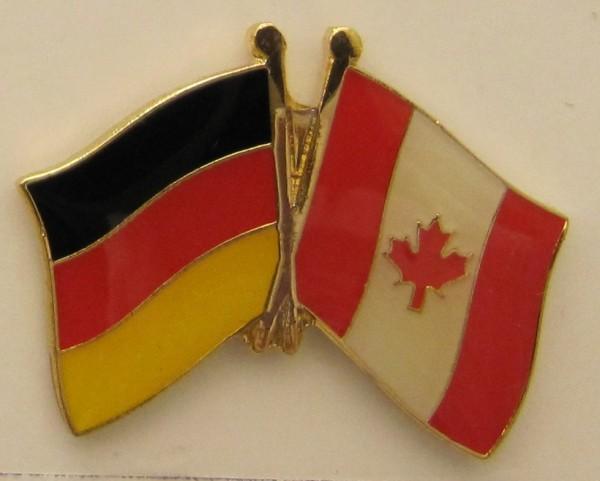 Kanada / Deutschland Freundschafts Pin Anstecker Flagge Fahne Nationalflagge