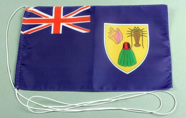 Tischflagge Turks Caicos Inseln 25x15 cm optional mit Holz- oder Chromständer Tischfahne Tischfähnch