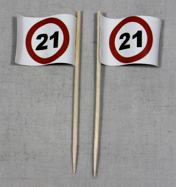 Party-Picker Flagge Tempo 21 Verkehrszeichen Papierfähnchen in Spitzenqualität 50 Stück Beutel