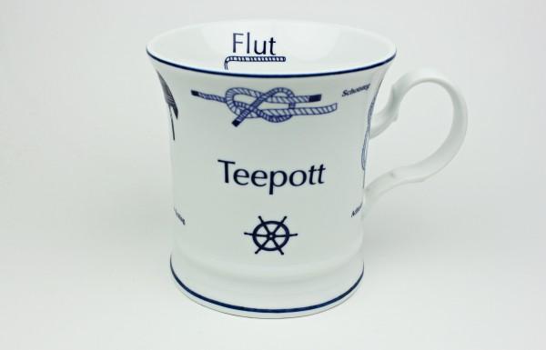 Teepott mit Seemannsknoten hoch Knotenbecher Souvenir Teetasse Tee Becher Andenken Teebecher