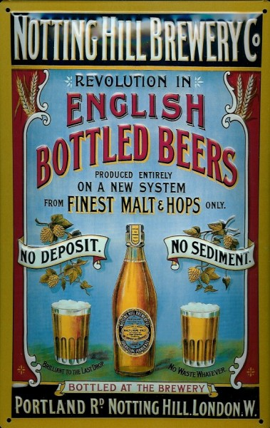 Blechschild Notting Hill Brewery London Bier Brauerei retro Schild Nostalgieschild