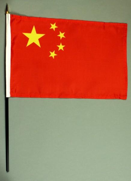 Tischflagge China 20x30 cm optional mit Tischflaggenständer aus Mahagoni Holz