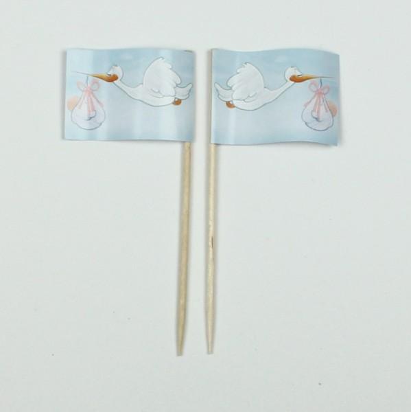 Party-Picker Flagge Klapperstorch Storch Papierfähnchen in Spitzenqualität 50 Stück Beutel