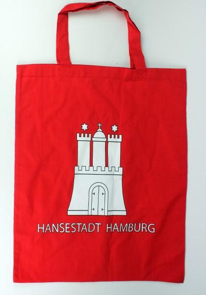 Hamburg Stofftasche Einkaufstasche rot Hamburger Wappen Stoffbeutel