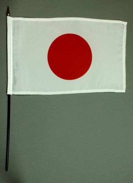 Tischflagge Japan 20x30 cm optional mit Tischflaggenständer aus Mahagoni Holz