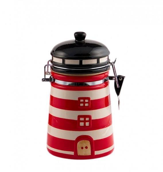 Vorratsdose Leuchtturm klein rot weiß Keramik Kaffeedose Dose Vorratsbehälter